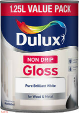 Dulux 1.25L Non Drip Gloss Paint Pure Brilliant White Paint Wood & Metal