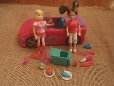 Polly Pocket Lot of Two Dolls Pink Convertible Car Vehicle Accessories C69