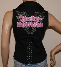 WOMENS SEXY HARLEY DAVIDSON CORSET BACK SLEEVELESS TOP  Sz X-SMALL   NWT