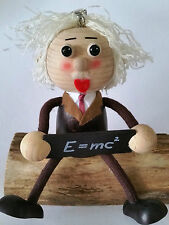 BOUNCY PUPPET EINSTEIN HANDMADE WOODEN SPRINGY DECORATION OFFICE GIFT MOBILE