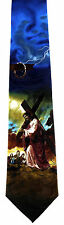 Carrying The Cross Mens Neck Tie Religious Blue Jesus Christian Easter Gift New