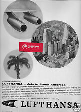 LUFTHANSA GERMAN AIRLINES BOEING 720B JET TO SOUTH AMERICA 1961 SAO PAULO AD