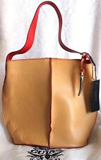 Guia's Italy Tan w/Red Artisan-Made Italian Leather Bucket Hobo Shoulder Handbag