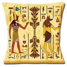 "Egyptian Gods Horus and Anubis Ancient Symbols Multi 16""  Pillow Cushion Cover"