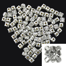 100Pcs Silver Plated Crystal Rhinestone Loose Spacer Beads For Jewelry Making