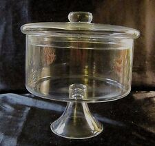 VINTAGE CLEAR GLASS PEDESTAL BOWL w/LID - Cylindrical Bowl with Flared Base
