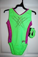 GK Elite Gymnastics Leotard - Adult Large - Lime/Megenta