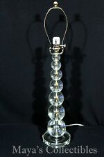 "Stacked Crystal Spheres Balls Table Lamp 29"" Tall Mid Century Style"