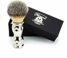 Silver tip Badger looking hair Shaving Brush with Complete Metal Base.