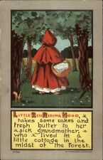 Fairy Tale - Little Red Riding Hood in Woods c1910 Postcard