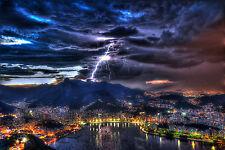 Framed Print - Night Time Lightning Storm Rio de Janeiro Brazil (Picture Art)