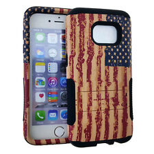 For NEW SAMSUNG GALAXY S7 Hybrid HOPPER Slim Rugged Cover Case DISTRESSED FLAG