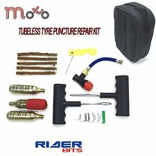 MOTORCYCLE TYRE REPAIR KIT FULL TUBELESS SCOOTER MOTORBIKE CAR TOOLS FREE POUCH