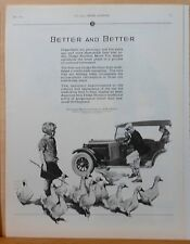 Vintage 1925 magazine ad for Dodge - Goofy Dodge driver attacked by geese