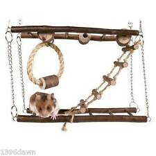 Natural Wood Hanging Suspension Bridge Cage Toy for Hamster Mouse Gerbil Rat