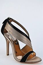 NIB Badgley Mischka Octavia SILK evening heels sandals shoes Cream Black 10