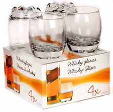 BOX OF 4 GLASS WHISKEY WHISKY BRANDY WINE 255 ml DECORATIVE GLASSES TUMBLERS