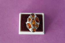 Beautiful 9.25 Silver Ring With Amber 6.3 Gr. 3 x 2.1 Cm. Wide Size P In Box