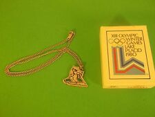 XIII Winter Olympics Lake Placid Necklace Pendant 1980 Raccoon skiing coon 80's