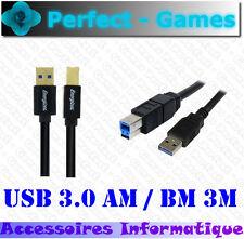 Cable USB 3.0 AM male BM male 3M ENERGIZER haute qualité OR 24K