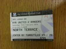 15/02/2014 Ticket: Ayr United v Rangers  (heavily folded/creased). Thanks for vi