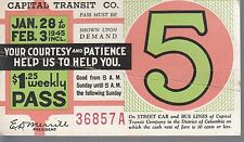 Trolly/Bus pass capital Transit Wash. DC--1945-----94