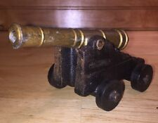 Mini Cast Iron Base Brass Cannon Penncraft Mt. Penn PA Marked 573 and 5 Toy