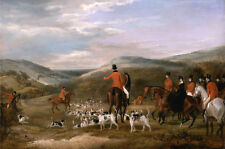 Oil painting Hunting scene Honorable men Noble ladies rider with hounds together