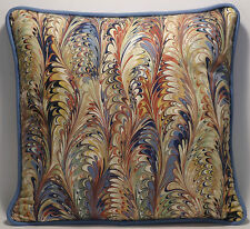 """2 18"""" Blue Green Gold Tan Curved Feather Pattern Designer Throw Pillows"""