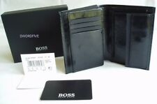 HUGO BOSS WALLET 'PISA' '50128195' TRI-FOLD BLACK KANGAROO LEATHER COIN POCKET