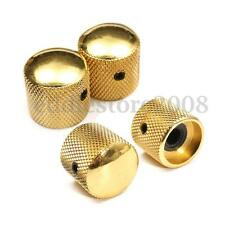 4Pcs Electric Guitar Bass Metal Dome Tone Volume Dome Bronze Knobs Screw Gold