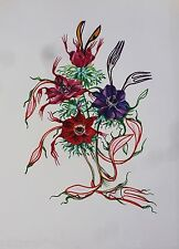 DALI*LITHOGRAPH*ORIGINAL*DRAEGER*1972*BEST*FLOWER*FLEUR*ANEMONE*FORK*MUSEE*RARE*