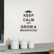 Keep Calm and Grow a Moustache Wall Quote Decal Vinyl Words Sticker Home Decor
