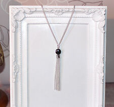 Vintage/flapper/Gatsby/1920's silver plate necklace with hematite beads & tassel