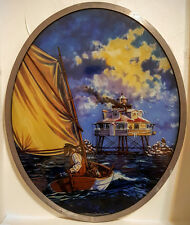 Return of the Keeper Stained Glass Panel The Thomas Point Lighthouse #720