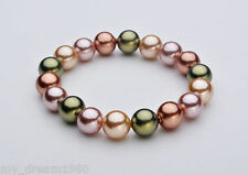 Genuine 10mm Multicolor Round South Sea Shell Pearl Stretch Bracelet 7.5'' AA