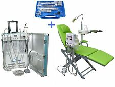 Portable Dental Unit with Air Compressor + Dental Chair + Handpiece Kit 2H/4H US