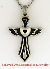 """Cross, Heart and Angel Wing Cremation Jewelry Keepsake Urn With 20"""" Necklace"""