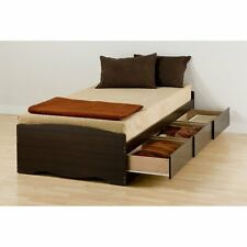 Prepac Mates XL Twin Platform Storage Bed with 3 Drawers -, Espresso, Twin