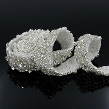 DIY 1Yard Tone Rhinestone Crystal Silver Applique Trim Sewing Wedding Dress Sash