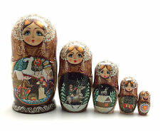 """Russian Fairy Tale """"Silver Hoof"""" Nesting DOLL Hand Carved Hand Painted Signed"""