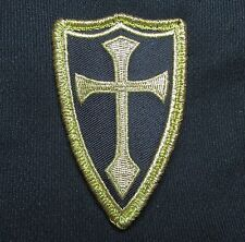 CROSS CRUSADER SHIELD USA NAVY SEAL DEVGRU ARMY TACTICAL BADGE GOLD VELCRO PATCH