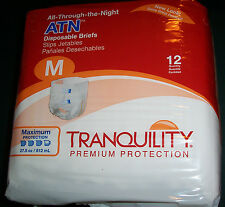 """12 Adult Medium 32-44"""" Disposable Briefs baby diaper tabs All-Through-The-Night"""