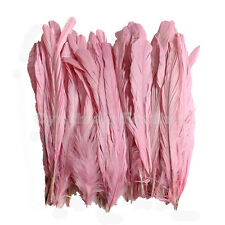 "50 pcs 8-10"" long Baby Pink Dyed Rooster COQUE tail Feathers for crafting, NEW"