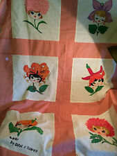 2001 PAINTED FLOWER GIRL BABY FACES 42 X 61 QUILT TOP PINK BORDER 6 BLOCKS