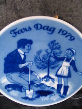 """Porsgrund  1979  FATHER'S DAY  PLATE Dad Girl Planting Tree  5"""" Collector Plate"""