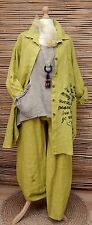 LAGENLOOK BEAUTIFUL 3 PCS OUTFIT JACKET+TUNIC+TROUSERS*LIME/BEIGE*BUST UP TO 50""
