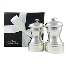 Sterling silver salt and pepper mill avec peugeot mécanisme, coffret cadeau