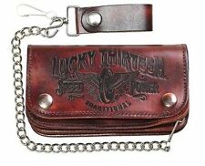 Lucky 13 Traditional Speed Embossed Chopper Bike Chain Motorcycle Tattoo Wallet