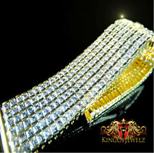 Men's 6 Row White on Yellow Diamond Simulate Custom Watch Band 22mm